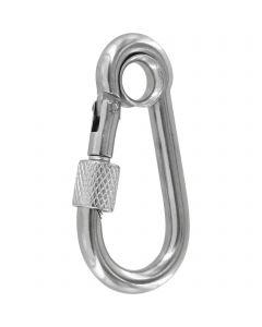 Screw-lock snap hooks - stainless steel, eyelet