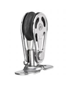 Sliding bearing block 6 mm - 1 sheave, base plate with bolt
