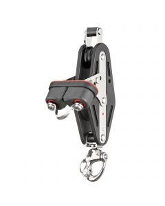 Mainsheet block ball bearing 12 mm - 2 sheaves, patent shackle, cam cleat