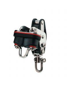 Mainsheet block sliding bearing 10 mm - 1 sheave, swivel, becket, cam cleat