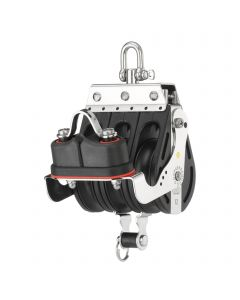 S-Block mainsheet sliding bearing 12 mm - 3 sheaves, swivel, becket, cam cleat
